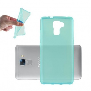 Cadorabo Hülle für Honor 7 in TRANSPARENT BLAU - Handyhülle aus flexiblem TPU Silikon - Silikonhülle Schutzhülle Ultra Slim Soft Back Cover Case Bumper