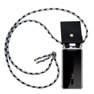 Cadorabo Handy Kette für OnePlus 6T in SCHWARZ CAMOUFLAGE Silikon Necklace Umhänge Hülle mit Gold Ringen, Kordel Band Schnur und abnehmbarem Etui Schutzhülle
