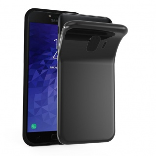 Cadorabo Hülle für Samsung Galaxy J4 2018 in SCHWARZ - Handyhülle aus flexiblem TPU Silikon - Silikonhülle Schutzhülle Ultra Slim Soft Back Cover Case Bumper