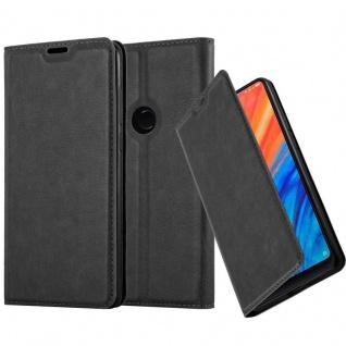 Cadorabo Hülle für Xiaomi Mix 2S in NACHT SCHWARZ - Handyhülle mit Magnetverschluss, Standfunktion und Kartenfach - Case Cover Schutzhülle Etui Tasche Book Klapp Style