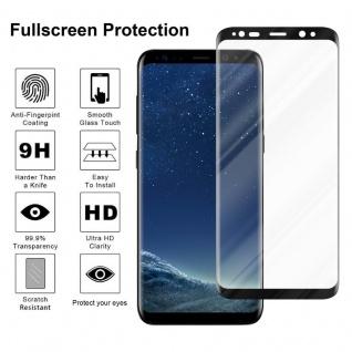 Cadorabo Panzer Folie voll klebend für Samsung Galaxy S8 - Schutzfolie in TRANSPARENT mit SCHWARZ - Gehärtetes Full Glue (Tempered) Display-Schutzglas in 9H Härte mit 3D Touch Kompatibilität - Vorschau 2