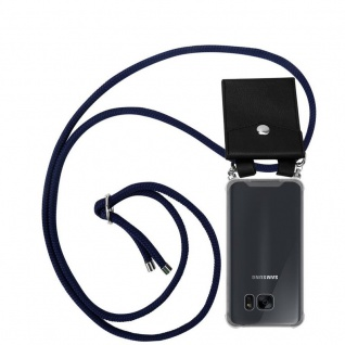 Cadorabo Handy Kette für Samsung Galaxy S7 in TIEF BLAU Silikon Necklace Umhänge Hülle mit Silber Ringen, Kordel Band Schnur und abnehmbarem Etui Schutzhülle