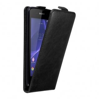 Cadorabo Hülle für Sony Xperia E3 in NACHT SCHWARZ - Handyhülle im Flip Design mit unsichtbarem Magnetverschluss - Case Cover Schutzhülle Etui Tasche Book Klapp Style