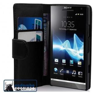 Cadorabo Hülle für Sony Xperia S in KAVIAR SCHWARZ - Handyhülle aus glattem Kunstleder mit Standfunktion und Kartenfach - Case Cover Schutzhülle Etui Tasche Book Klapp Style