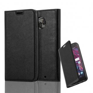 Cadorabo Hülle für Motorola MOTO X4 in NACHT SCHWARZ - Handyhülle mit Magnetverschluss, Standfunktion und Kartenfach - Case Cover Schutzhülle Etui Tasche Book Klapp Style