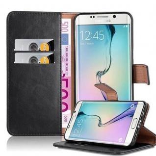 Cadorabo Hülle für Samsung Galaxy S6 EDGE PLUS in GRAPHIT SCHWARZ ? Handyhülle mit Magnetverschluss, Standfunktion und Kartenfach ? Case Cover Schutzhülle Etui Tasche Book Klapp Style