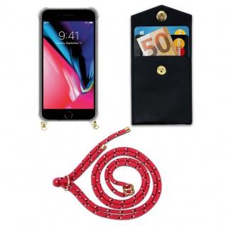 Cadorabo Handy Kette für Apple iPhone 8 PLUS / 7 PLUS / 7S PLUS in PINK SCHWARZ WEISS GEPUNKTET - Silikon Necklace Umhänge Hülle mit Gold Ringen, Kordel Band Schnur und abnehmbarem Etui Schutzhülle - Vorschau 5