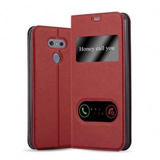 Cadorabo Hülle für LG G6 in SAFRAN ROT - Handyhülle mit Magnetverschluss, Standfunktion und 2 Sichtfenstern - Case Cover Schutzhülle Etui Tasche Book Klapp Style