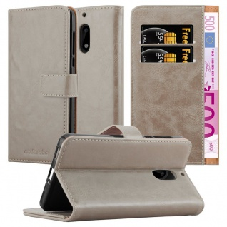Cadorabo Hülle für Nokia 6 2017 in CAPPUCCINO BRAUN Handyhülle mit Magnetverschluss, Standfunktion und Kartenfach Case Cover Schutzhülle Etui Tasche Book Klapp Style