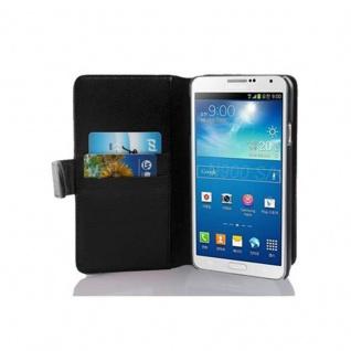 Cadorabo Hülle für Samsung Galaxy NOTE 3 in OXID SCHWARZ ? Handyhülle aus strukturiertem Kunstleder mit Standfunktion und Kartenfach ? Case Cover Schutzhülle Etui Tasche Book Klapp Style
