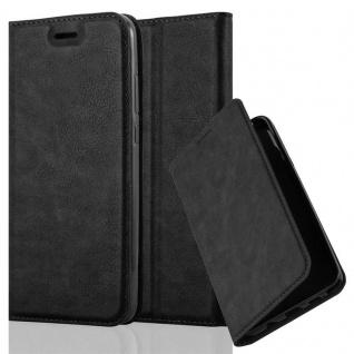 Cadorabo Hülle für Huawei P20 in NACHT SCHWARZ Handyhülle mit Magnetverschluss, Standfunktion und Kartenfach Case Cover Schutzhülle Etui Tasche Book Klapp Style