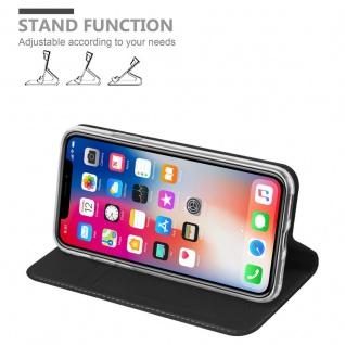 Cadorabo Hülle für Apple iPhone X / XS in CLASSY SCHWARZ - Handyhülle mit Magnetverschluss, Standfunktion und Kartenfach - Case Cover Schutzhülle Etui Tasche Book Klapp Style - Vorschau 4