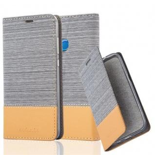 Cadorabo Hülle für Honor 9 LITE in HELL GRAU BRAUN - Handyhülle mit Magnetverschluss, Standfunktion und Kartenfach - Case Cover Schutzhülle Etui Tasche Book Klapp Style
