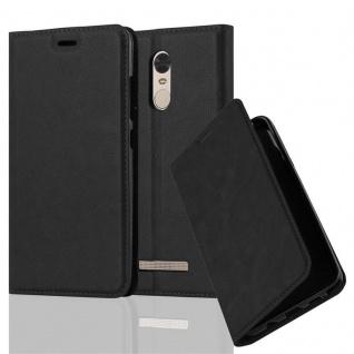 Cadorabo Hülle für Xiaomi Red Mi NOTE 3 in NACHT SCHWARZ - Handyhülle mit Magnetverschluss, Standfunktion und Kartenfach - Case Cover Schutzhülle Etui Tasche Book Klapp Style