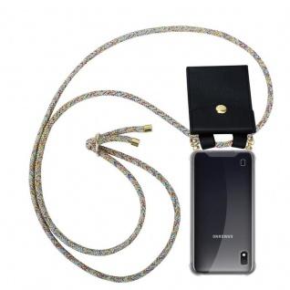 Cadorabo Handy Kette für Samsung Galaxy M10 in RAINBOW - Silikon Necklace Umhänge Hülle mit Gold Ringen, Kordel Band Schnur und abnehmbarem Etui ? Schutzhülle