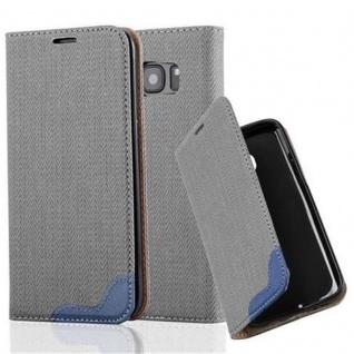Cadorabo Hülle für Samsung Galaxy S7 EDGE - Hülle in GRAU BLAU ? Handyhülle in Bast-Optik mit Kartenfach und Standfunktion - Case Cover Schutzhülle Etui Tasche Book Klapp Style