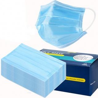 50x Einweg Maske 3-lagig Mund Nasen Abdeckung- Blau