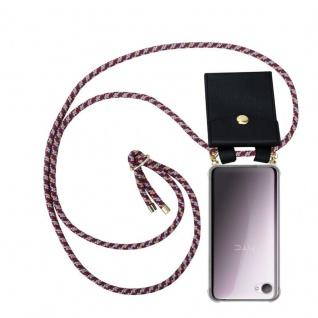 Cadorabo Handy Kette für HTC Desire 12 in ROT GELB WEISS - Silikon Necklace Umhänge Hülle mit Gold Ringen, Kordel Band Schnur und abnehmbarem Etui ? Schutzhülle