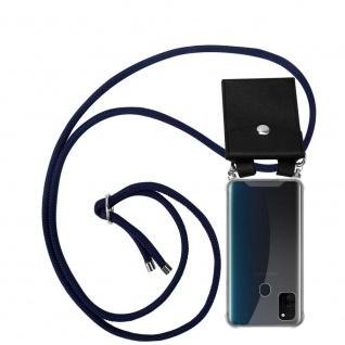 Cadorabo Handy Kette für Samsung Galaxy M30s in TIEF BLAU Silikon Necklace Umhänge Hülle mit Silber Ringen, Kordel Band Schnur und abnehmbarem Etui Schutzhülle