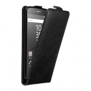Cadorabo Hülle für Sony Xperia Z5 in NACHT SCHWARZ - Handyhülle im Flip Design mit unsichtbarem Magnetverschluss - Case Cover Schutzhülle Etui Tasche Book Klapp Style