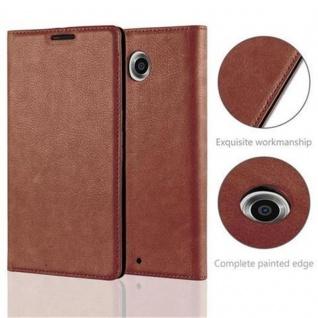 Cadorabo Hülle für Lenovo Google NEXUS 6 / 6X in CAPPUCCINO BRAUN - Handyhülle mit Magnetverschluss, Standfunktion und Kartenfach - Case Cover Schutzhülle Etui Tasche Book Klapp Style - Vorschau 3