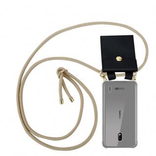 Cadorabo Handy Kette für Nokia 2.2 in GLÄNZEND BRAUN - Silikon Necklace Umhänge Hülle mit Gold Ringen, Kordel Band Schnur und abnehmbarem Etui ? Schutzhülle