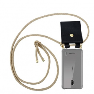 Cadorabo Handy Kette für Nokia 2.2 in GLÄNZEND BRAUN Silikon Necklace Umhänge Hülle mit Gold Ringen, Kordel Band Schnur und abnehmbarem Etui Schutzhülle