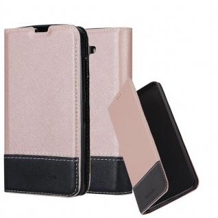 Cadorabo Hülle für LG K10 2016 in ROSÉ GOLD SCHWARZ - Handyhülle mit Magnetverschluss, Standfunktion und Kartenfach - Case Cover Schutzhülle Etui Tasche Book Klapp Style