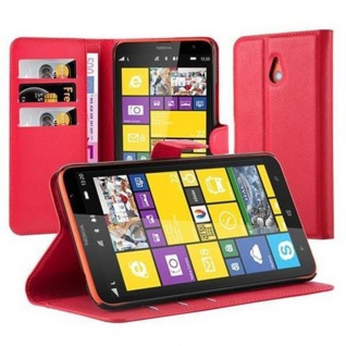 Cadorabo Hülle für Nokia Lumia 1320 in KARMIN ROT - Handyhülle mit Magnetverschluss, Standfunktion und Kartenfach - Case Cover Schutzhülle Etui Tasche Book Klapp Style