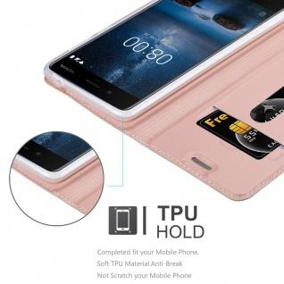 Cadorabo Hülle für Nokia 8 2017 in CLASSY ROSÉ GOLD - Handyhülle mit Magnetverschluss, Standfunktion und Kartenfach - Case Cover Schutzhülle Etui Tasche Book Klapp Style - Vorschau 2