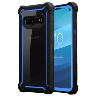 Cadorabo Hülle für Samsung Galaxy S10 PLUS in BLAU SCHWARZ - 2-in-1 Handyhülle mit TPU Silikon-Rand und Acryl-Glas-Rücken - Schutzhülle Hybrid Hardcase Back Case