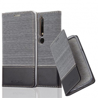 Cadorabo Hülle für Nokia 6.1 2018 in GRAU SCHWARZ - Handyhülle mit Magnetverschluss, Standfunktion und Kartenfach - Case Cover Schutzhülle Etui Tasche Book Klapp Style