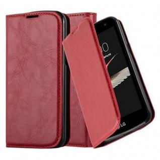Cadorabo Hülle für LG K4 2016 in APFEL ROT Handyhülle mit Magnetverschluss, Standfunktion und Kartenfach Case Cover Schutzhülle Etui Tasche Book Klapp Style