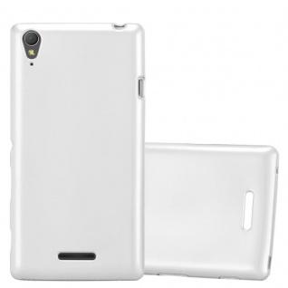 Cadorabo Hülle für Sony Xperia T3 in METALLIC SILBER - Handyhülle aus flexiblem TPU Silikon - Silikonhülle Schutzhülle Ultra Slim Soft Back Cover Case Bumper