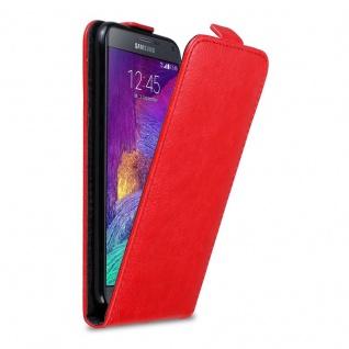 Cadorabo Hülle für Samsung Galaxy NOTE 4 in APFEL ROT Handyhülle im Flip Design mit unsichtbarem Magnetverschluss Case Cover Schutzhülle Etui Tasche Book Klapp Style