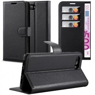 Cadorabo Hülle für Blackberry KEY 2 in PHANTOM SCHWARZ - Handyhülle mit Magnetverschluss, Standfunktion und Kartenfach - Case Cover Schutzhülle Etui Tasche Book Klapp Style