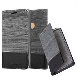 Cadorabo Hülle für WIKO VIEW MAX in GRAU SCHWARZ Handyhülle mit Magnetverschluss, Standfunktion und Kartenfach Case Cover Schutzhülle Etui Tasche Book Klapp Style