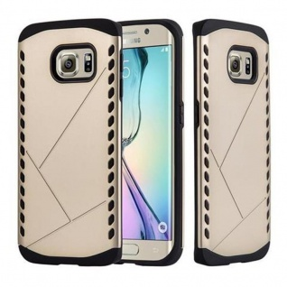 Cadorabo Hülle für Samsung Galaxy S6 EDGE - Hülle in GUARDIAN GOLD ? Hard Case TPU Silikon Schutzhülle für Hybrid Cover im Outdoor Heavy Duty Design