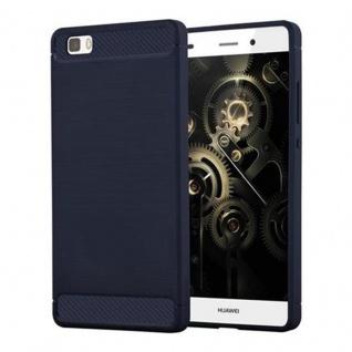 Cadorabo Hülle für Huawei P8 LITE 2015 - Hülle in BRUSHED BLAU ? Handyhülle aus TPU Silikon in Edelstahl-Karbonfaser Optik - Silikonhülle Schutzhülle Ultra Slim Soft Back Cover Case Bumper