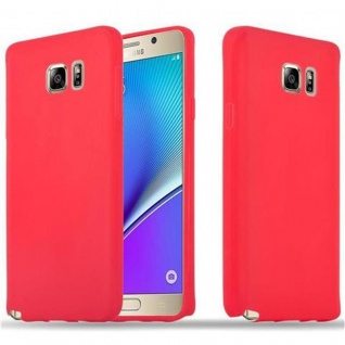 Cadorabo Hülle für Samsung Galaxy NOTE 5 in CANDY ROT - Handyhülle aus flexiblem TPU Silikon - Silikonhülle Schutzhülle Ultra Slim Soft Back Cover Case Bumper