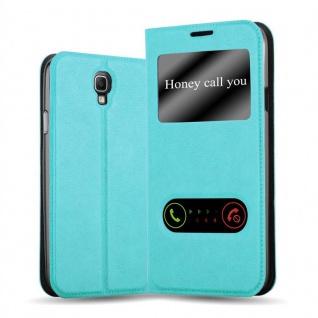 Cadorabo Hülle für Samsung Galaxy NOTE 3 NEO in MINT TÜRKIS Handyhülle mit Magnetverschluss, Standfunktion und 2 Sichtfenstern Case Cover Schutzhülle Etui Tasche Book Klapp Style