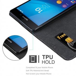 Cadorabo Hülle für Sony Xperia M4 AQUA in SCHWARZ BRAUN ? Handyhülle mit Magnetverschluss, Standfunktion und Kartenfach ? Case Cover Schutzhülle Etui Tasche Book Klapp Style