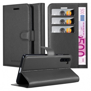 Cadorabo Hülle für Samsung Galaxy NOTE 10 in PHANTOM SCHWARZ Handyhülle mit Magnetverschluss, Standfunktion und Kartenfach Case Cover Schutzhülle Etui Tasche Book Klapp Style