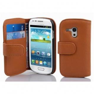 Cadorabo Hülle für Samsung Galaxy S3 MINI - Hülle in COGNAC BRAUN ? Handyhülle mit Kartenfach aus struktriertem Kunstleder - Case Cover Schutzhülle Etui Tasche Book Klapp Style