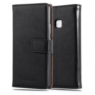 Cadorabo Hülle für Huawei P9 LITE in GRAPHIT SCHWARZ ? Handyhülle mit Magnetverschluss, Standfunktion und Kartenfach ? Case Cover Schutzhülle Etui Tasche Book Klapp Style