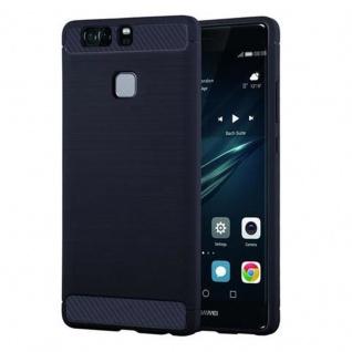 Cadorabo Hülle für Huawei P9 - Hülle in BRUSHED BLAU - Handyhülle aus TPU Silikon in Edelstahl-Karbonfaser Optik - Silikonhülle Schutzhülle Ultra Slim Soft Back Cover Case Bumper