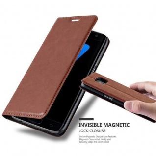 Cadorabo Hülle für Samsung Galaxy S7 EDGE in CAPPUCCINO BRAUN - Handyhülle mit Magnetverschluss, Standfunktion und Kartenfach - Case Cover Schutzhülle Etui Tasche Book Klapp Style