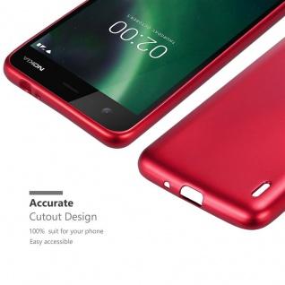 Cadorabo Hülle für Nokia 2 2017 in METALLIC ROT - Handyhülle aus flexiblem TPU Silikon - Silikonhülle Schutzhülle Ultra Slim Soft Back Cover Case Bumper - Vorschau 5