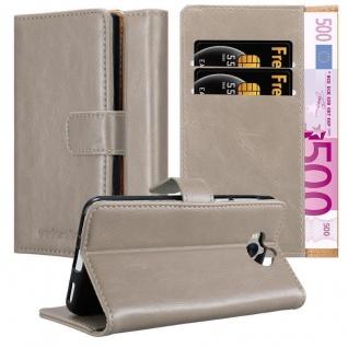 Cadorabo Hülle für Huawei Y6 2017 in CAPPUCCINO BRAUN Handyhülle mit Magnetverschluss, Standfunktion und Kartenfach Case Cover Schutzhülle Etui Tasche Book Klapp Style