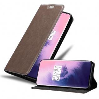 Cadorabo Hülle für OnePlus 7 PRO in KAFFEE BRAUN - Handyhülle mit Magnetverschluss, Standfunktion und Kartenfach - Case Cover Schutzhülle Etui Tasche Book Klapp Style